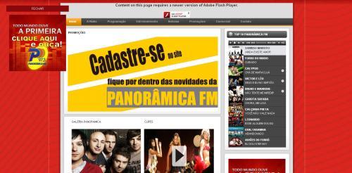 Interface gráfica da página de abertura do web site da Panorâmica FM