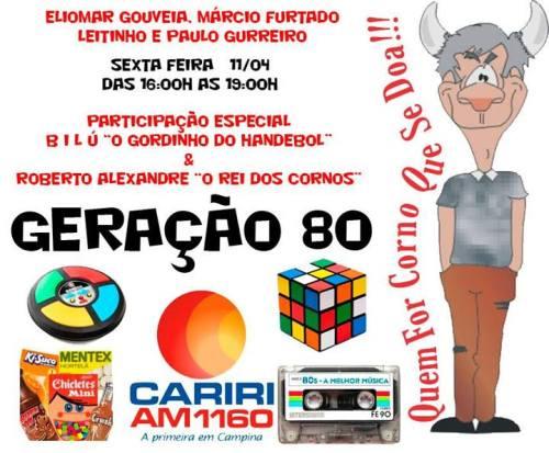 Cartaz da edição de 11-04-2014 do programa Geração 80